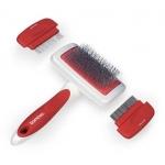 Dog Slicker Brush With Flea & Fine Combs