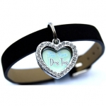 Rhinestone Heart Dog Tag