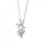 Toggle Necklace With Gold & Silver Heart